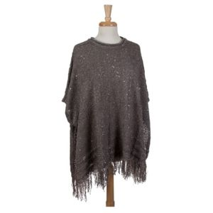 Gray Poncho Sweater with Silver Accents